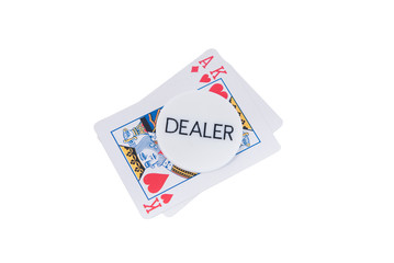 AK poker cards an dealer chip