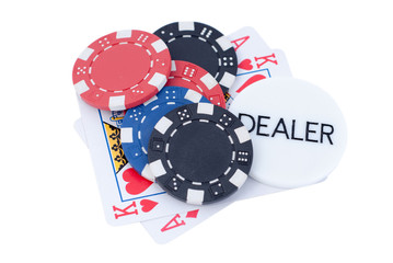 AK poker chips and dealer