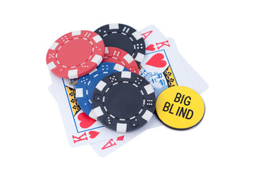 AK poker chips and big blind