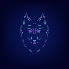 Wolf silhouette. Vintage wolf face logo emblem