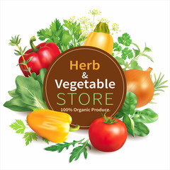 Herb and vegetable store background. Vector illustration.