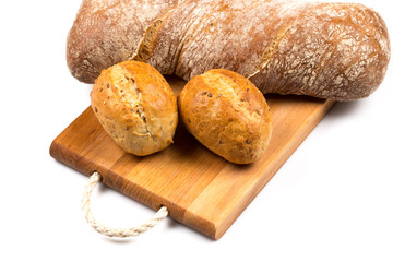 Various of bread on cutting board