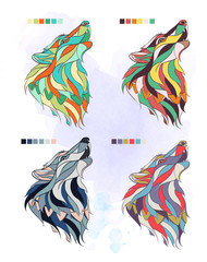 Set of colored wolfs on the grunge background. Different pallets. It may be used for design of a t-shirt, bag, postcard, a poster and so on.