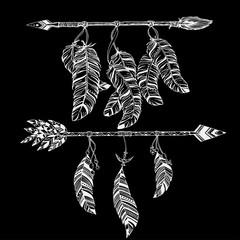 Ethnic arrows, feathers. Boho style. Freedom concept.