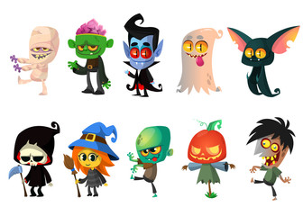 Set of Halloween characters. Vector mummy, zombie, vampire, ghost, bat, death, witch, pumpkin head. Great for party decoration