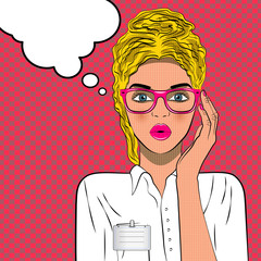 Vector illustration of pretty young female doctor. Woman wearing glasses holding frame in close-up. Speech bubble.