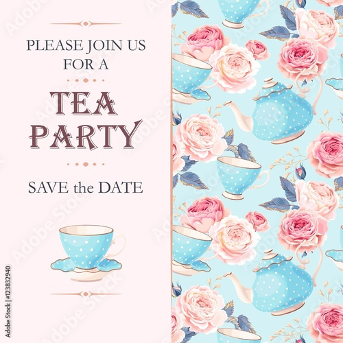 tea party menu template - tea party invitation stock image and royalty free vector