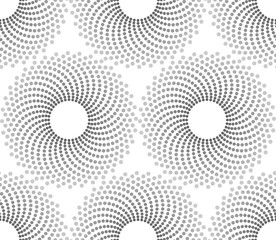 Vector seamless texture. Modern geometric background. Repeating pattern with circles filled with dots of different sizes.