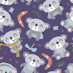 vector cartoon style koala seamless pattern