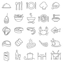 Restaurant  thin line icons.