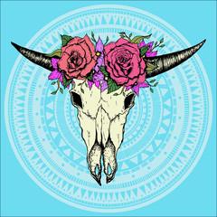 Hand drawn cow or bull boho skull.