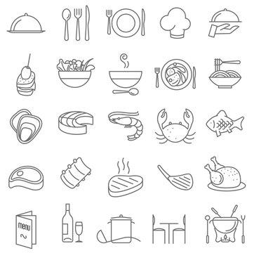 Restaurant  thin line icons.