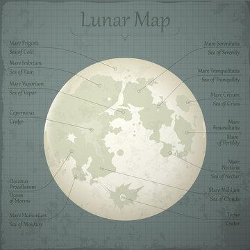 Vector lunar map.