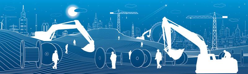 Building panorama, industrial landscape, building cranes, excavators, large coil, vector lines design art