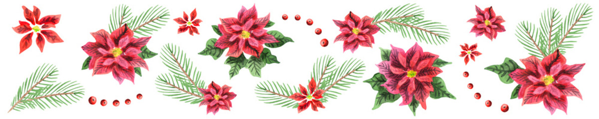 Panoramic image of new year and Christmas decoration. Watercolor