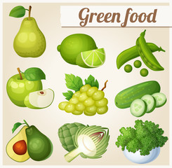 Set of cartoon green food icons