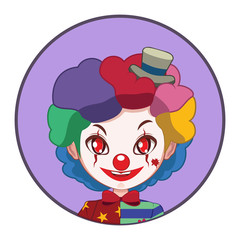 Scary clown in a circle