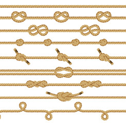 Brown rope knots collection. Decorative graphic elements isolated on a white background. Vector illustration.