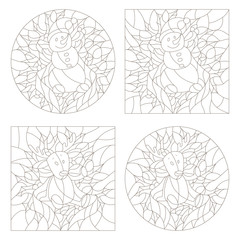 Set contour illustrations of the stained glass Windows on the theme of new year and Christmas,plush moose and snowman on background of Holly and ribbons