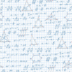 Seamless pattern on the theme of the subject of geometry , formulas, and graphs theorems on the notebook sheet in a cage