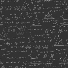Seamless pattern on the theme of the subject of geometry , formulas, and charts of theorems , a bright outline on a dark background