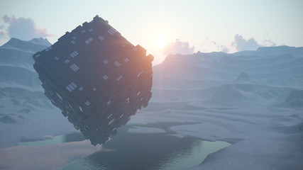 3d unknown object in the form of a cube hovering over the gorge