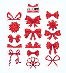 Set of red bows. Vector illustration.