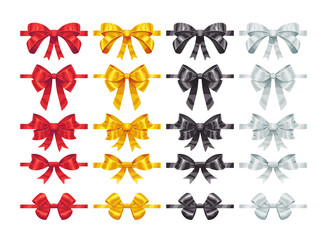 Bow knots elements. Collection of vector colorful bows decoration parts.