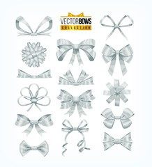 Set of silver white bows. Vector illustration.