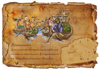 Vietnam - Floating Markets. Hand drawn.