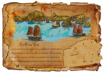 Vietnam - Ha Long Bay. Hand drawing.
