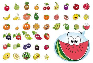 42 Illustrationen von 27 verschiedenen und fröhlichen Obstsorten