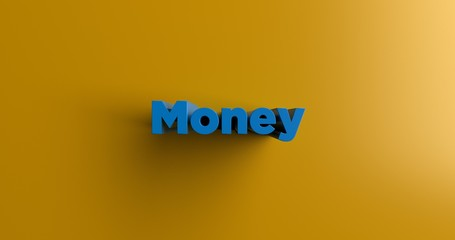 Money - 3D rendered colorful headline illustration.  Can be used for an online banner ad or a print postcard.