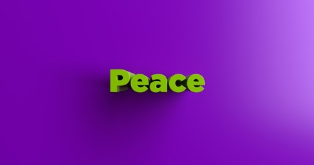 Peace - 3D rendered colorful headline illustration.  Can be used for an online banner ad or a print postcard.
