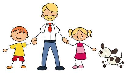 Alleinerziehender Vater mit zwei Kindern und Haustier