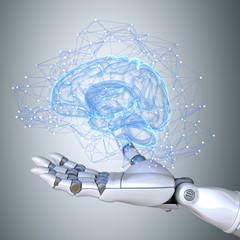 Wall Mural - Robot hand holding virtual brain scheme