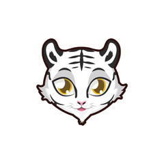 White Tiger portrait illustration
