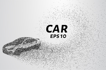 Car from the particles. The car disintegrates to smaller molecules. Vector illustration. The text can be hidden.