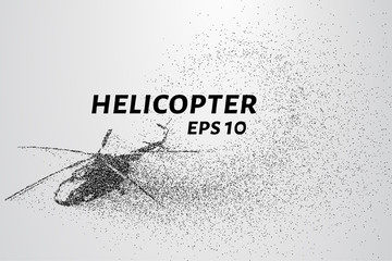 The helicopter of the particles. Transport helicopter consists of small circles.