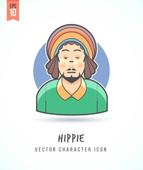Hippie man with dreadlock hairstyle illustration People lifestyle and occupation Colorful and stylish flat vector character icon