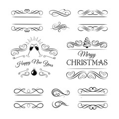 Champagne Glasses Clink. Badges And Labels Set. Merry Christmas New Year Holiday. Isolated. On White Vector Illustration