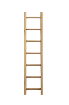 Wooden ladder isolated.