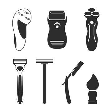 Shaving tools icons