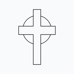 Vector illustration of cross. Religion icon. Silhouette. Flat style.
