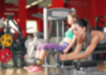 Blurred fitness gym background