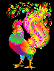 Illustration of beautiful fantasy rooster on black background, vector cartoon image.