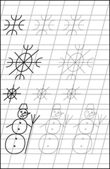 Page with exercises for young children in line. Developing skills for writing and drawing. Black and white vector image.