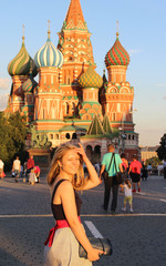 Beautiful young woman on the Red Square