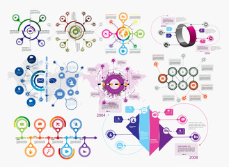 Collection of infographic vector design templates