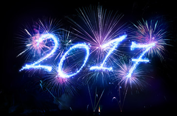 Happy New Year 2017 - Written With Fireworks